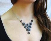 Statement Necklace Bib Hardware Jewelry Black Industrial eco friendly