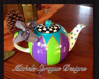 Painted ceramic teapot coffee pot, whimsical painted tea pot