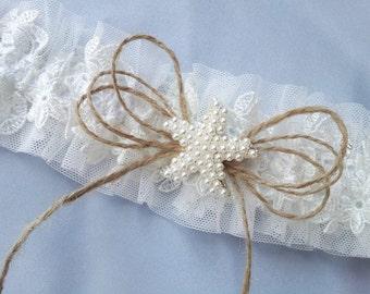 Beach Wedding Starfish Pearls Twine Garter Ivory Tulle Elegant Lace Wedding Bridal Burlap