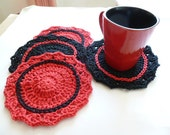 SALE - Set of 4 Red & Black Crocheted Coasters