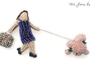Beaded French Lady Walking Pink Poodle 2-Part Pearl Pin Brooch Bead Embroidery Jewelry- Gift for Her / Ready to Ship (a)