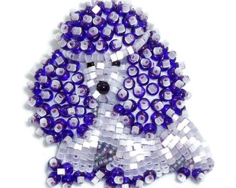 Purple Delica Beaded TOY POODLE keepsake pin pendant / Ready to Ship