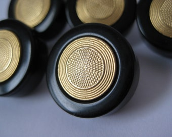 Black Gold Metal Plastic Buttons Vintage Five