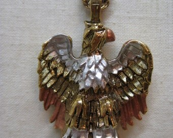 Eagle Bird Gold Silver Copper Necklace Vintage Pendant Hawk
