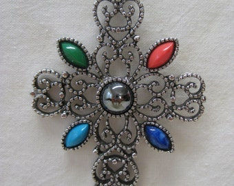 Cross Filigree Necklace Red Green Blue Silver Vintage Pendant Avon
