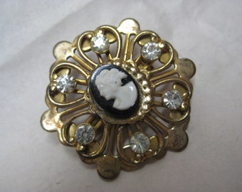 Cameo Black White Rhinestone Brooch Gold Clear Vintage Pin