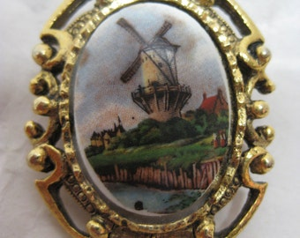 Holland Windmill Gold Brooch Porcelain Vintage Pin