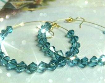 COOL WATERS Large Crystal Hoop Earrings