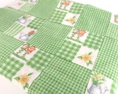 Vintage Green Gingham Lap Quilt Top with Fussy Cut Birdhouses and Garden Themed Four Patch Unfinished Quilt