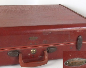 Vintage Large Brown Samsonite Hard Sided Suitcase Luggage