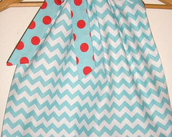 Dress  Pillowcase girl Aqua Chevron with red dots  Riley Blake fabric   pillowcase dress  3,6,9,12,18 months ,2t,3t,4t,5t,6,7,8,10,12