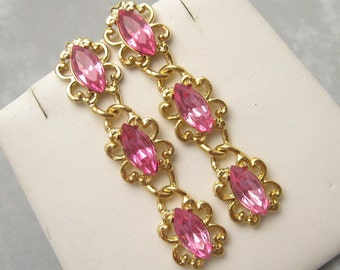 Long Rhinestone Earrings Pink Eighties Vintage Jewelry E5838