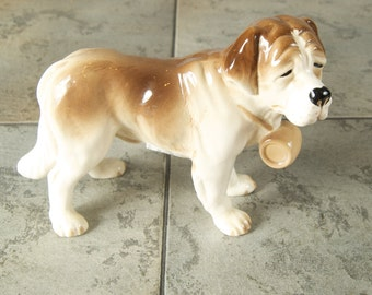 Vintage Ceramic Saint Bernard Dog Figurine