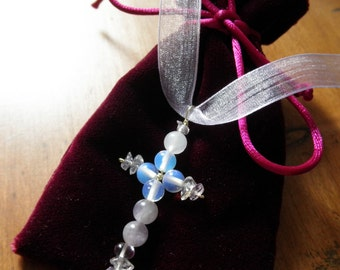 Magical, Unique ,Pastel colored Semi Precious stone bead Cross