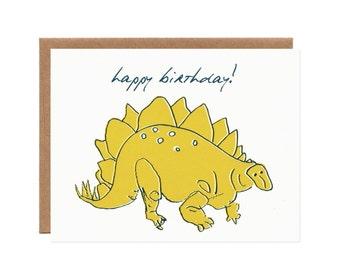 Happy Birthday Stegosaurus Card -- Dinosaur Card for Kids and Adults