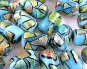 12 Fused Glass Blue Patchwork Beads 22X15 mm