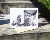 """Man and Pigeon Greeting Card - 5"""" x 7"""""""