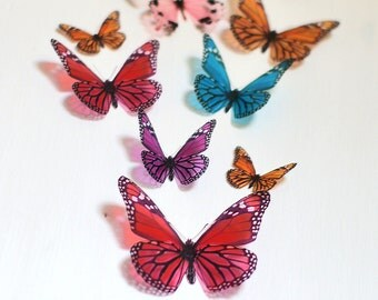 12 3D Rainbow Butterfly wall Art made with plastic