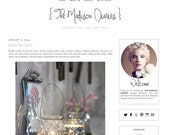Premade Blogger Template - THE MADISON DIARIES - Mobile Responsive - Graphic Design - Blog Template