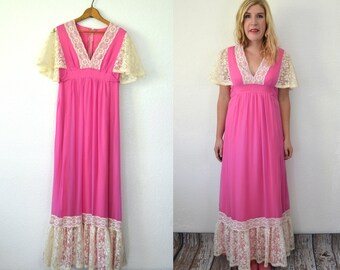 Boho Maxi Dress - 1970s Dress - Butterfly Sleeve Maxi Dress - Lace Pink Dress