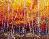 Free Shipping Joyful Essence 36x48 Original HUGE LARGE Oil Painting Impressionism Fall Autumn Aspens Birch trees Etsy Exclusive by Carl Bork