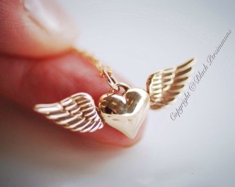 Heart with Wings Necklace - Natural Bronze Charm 14K Gold Filled Delicate Chain - Insurance Included