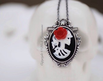 Miss Skeleton Gatsby Necklace - Lolita Zombie 25x18mm Cameo - 6 Cameo Colors - 5 Flower Colors - Free Domestic Shipping