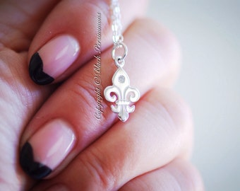 LAST ONE - Fleur de Lys Necklace - Sterling Silver Fleur de Lis  with Genuine 1 Point Diamond Charm Pendant - Insurance Included