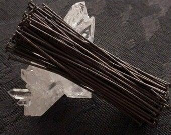 30+ 2 Inch Headpins Hand Oxidized Solid Brass 21g Wire Dark Bronze Brown Black Patina Goth Victorian Steampunk Boho Jewelry Finding Lot 2Q