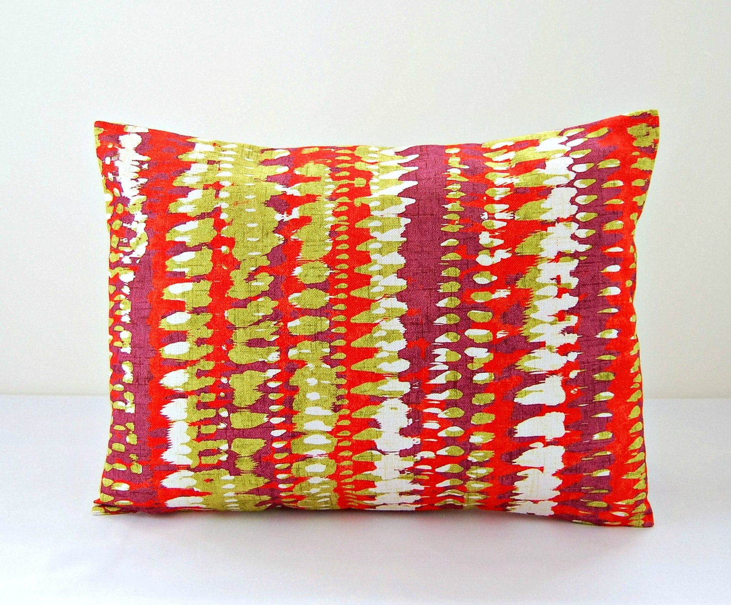 12 x 16 inch lumbar decorative pillow cover lime green white