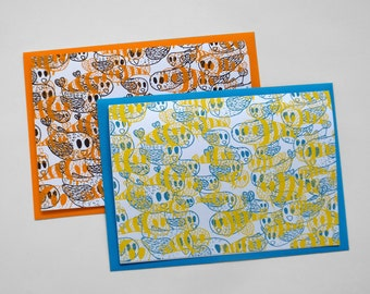 Birds and the Bees, (screenprinted notecards)
