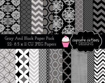 Gray Black Digital Paper  Elements Commercial use Instant Download