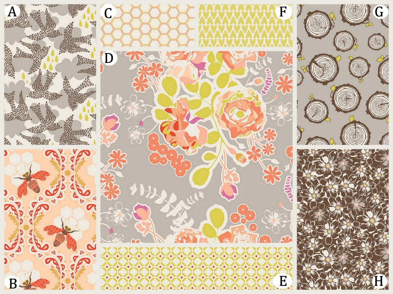 coral peach and gray custom baby bedding in woodland autumn. Black Bedroom Furniture Sets. Home Design Ideas