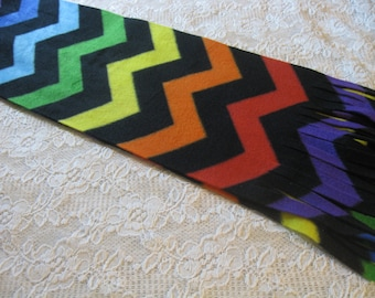 Five Buck Fleece Scarf Blow Out at SylMarCreations! * Chevron in Primary Rainbow Winter Fleece Scarf Orange Yellow Green Blue Purple Red