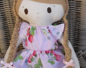 Sew Sunshine -JCOCO doll (strawberry lace)- Handmade Soft Cotton Doll