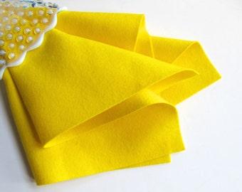Lemon Yellow Felt, 100% Wool, Choose Size, Large Felt Sheet, Wool Felt Square, Bright, Neon Color, DIY Craft Supply