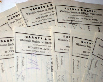10 Large Antique Victorian  Receipts for Collecting or Crafting