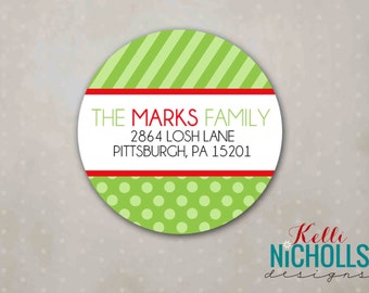 Polka Dot & Stripes Christmas Return Address Labels - Custom Sticker 26