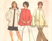 Simplicity 9869 1970s Misses Cape and Cardigan Pattern Womens Vintage Sewing Pattern Size 10 Bust 32 OR Size 16 Bust 38