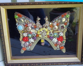 Framed  Vintage Jewelry Art Butterfly Collage