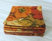 Coasters set of 6 Vintage Fabric Orange, Gold, Green, Brown