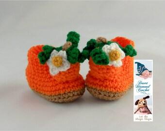 Crochet Pattern 088 - Pumpkin Baby Booties - 5 Sizes