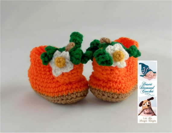 Crochet Pattern 088 - Pumpkin Baby Booties - 5 Sizes
