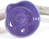 Pottery Spoon Rest- Glaze Stamped, Purple, Smoky Mountain Mist, Turquoise Serving Kitchen