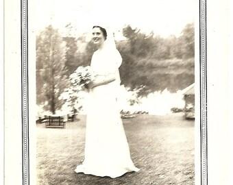Vintage Edwardian Photograph Bride Holding Flower Bouquet Poses By Lake Antique Photo
