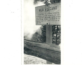 1940s Vintage Photo Mud Volcano Sign Yellowstone National Park Snapshot Photograph
