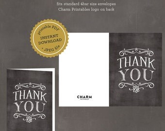 INSTANT DOWNLOAD Printable Chalkboard Thank You Card, Folded Thank You Template