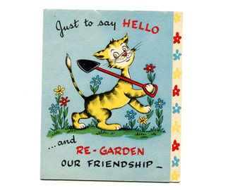 1950s Just to Say Hello Greeting Card Friendship Tiger Note Card Blue ReGarden Our Friendship Call A Spade A Spade Antique Vintage Paper