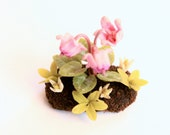 Miniature Plants Polymer Clay Flowers Supplies for Dollhouse, Pink Cyclamen