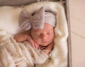 Newborn Felted Big Bow - Pewter